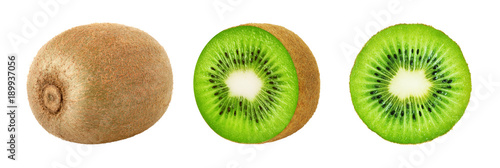 Fotografía  Set of whole and slice kiwi fruits isolated