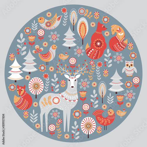 Decorative circular ornament with animals, birds, flowers and trees Wallpaper Mural