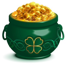 Green Full Pot With Gold Coins...
