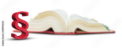 Fotografía 3d paragraf symbol vor unscharfem gesetzbuch