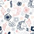 Seamless pattern with unicorns.