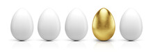 Golden Egg In Row Isolated On White. 3d Rendering