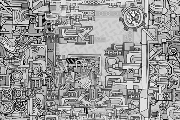 Vector seamless pattern. Abstract industry or steampunk background. Technology or factory illustration with decorative machine sketch elements. Hand drawn.