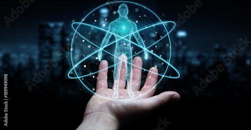Obraz Businessman using digital x-ray human body scan interface 3D rendering - fototapety do salonu