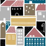 Bezszwowy wzór z starymi miastowymi budynkami. - 189949489