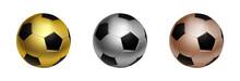 Three Soccer Football Ball In ...