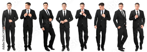 Obraz na plátne Collage with young handsome man in elegant suit posing on white background
