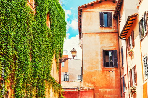Rome, Italy. Beautiful ancient architecture in Trastevere district © smallredgirl