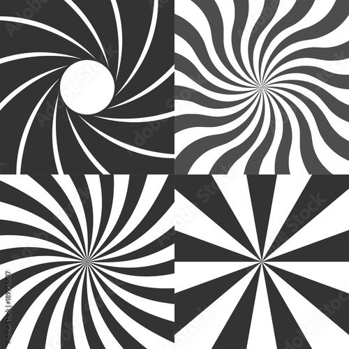 Photo Psychedelic retro spiral black and white backgrounds vector set, radial rays vintage backdrop, radial lens aperture, wavy spinning stripes variants