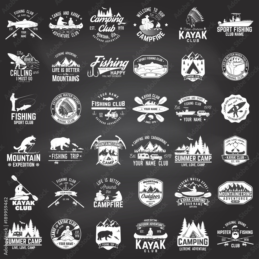Fototapeta Set of canoe, kayak, fishing and camping club badge.