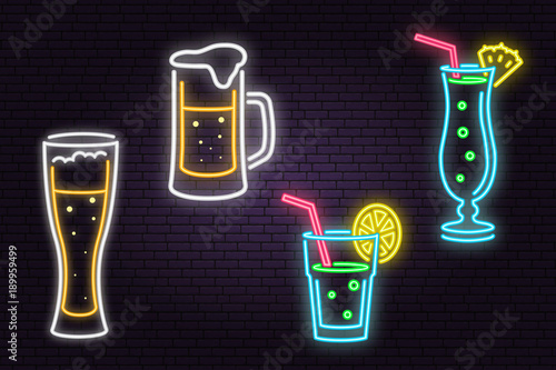 Set of neon Beer and Cocktail sign on brick wall background.