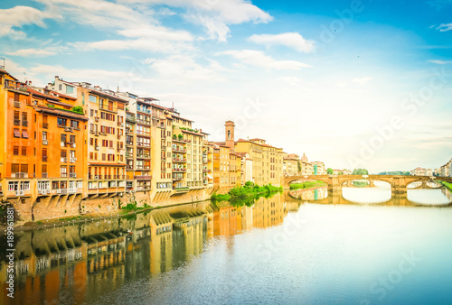 Fotografia  old town and river Arno, Florence, Italy