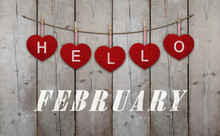 Hello February Written On Hang...