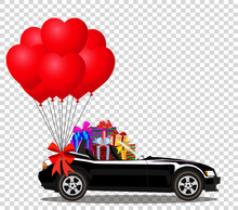 Black Cabriolet Car With Gifts And Bunch Of Red Heart Balloons
