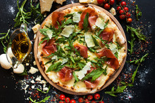 Salmon And Arugula Pizza. Ligh...
