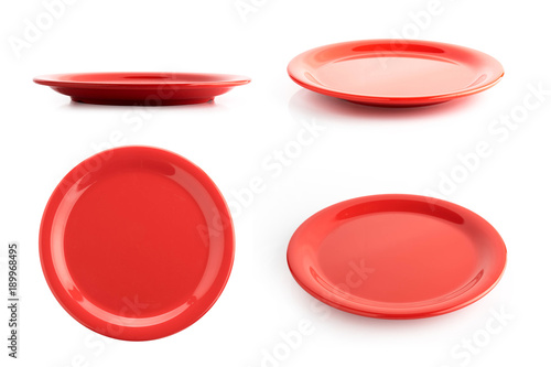 empty red plate isolated on a white