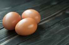 Fresh Eggs. Three Chicken Eggs...