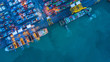 canvas print picture Aerial view of container cargo ship, Container Cargo ship in import export logistic, Logistics and transportation of International Container Cargo ship.