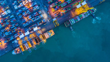 Aerial View Of Container Cargo Ship, Container Cargo Ship In Import Export Logistic, Logistics And Transportation Of International Container Cargo Ship.