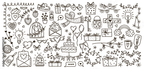 Obraz Sketchy vector hand drawn doodles cartoon set of Love and Valentine s Day objects and symbols - fototapety do salonu