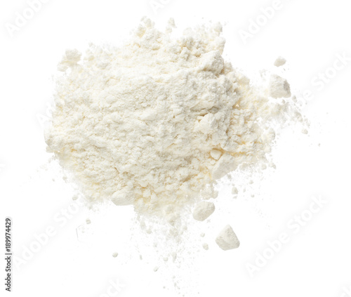 Cuadros en Lienzo  Pile of flour isolated on white background. Top view. Flat lay