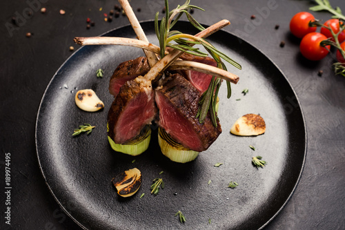 delicious gourmet rack of lamb recipe concept. meat restaurant meal. luxury lifestyle.