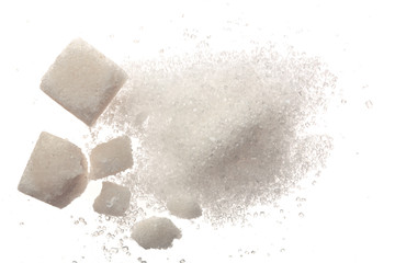 Heap of granulated sugar with cube isolated on white background. Top view. Flat lay