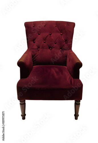 Vintage Luxurious Purple Armchair, Couch Isolated On White Background