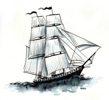 Ink And Watercolor Sketch Of A Sailing Ship
