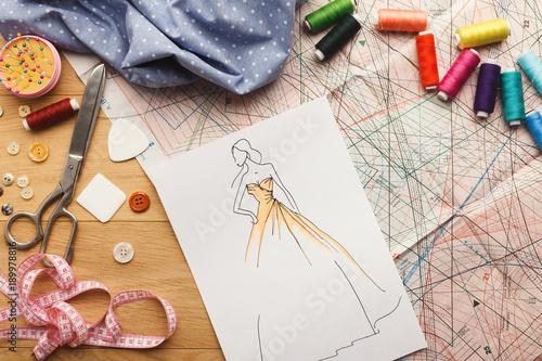 Hand drawn sketches for new fashion collection Slika na platnu