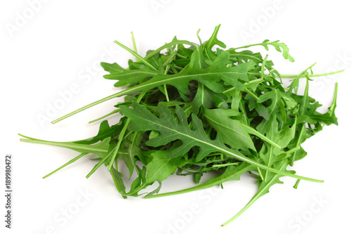 Cuadros en Lienzo Heap of Green fresh rucola or arugula leaf isolated on white background