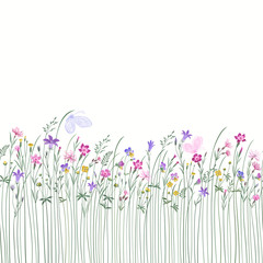 Fototapeta Do przedszkola seamless floral border with meadow flowers and butterflies