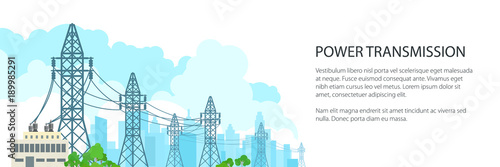 Valokuva  White Banner of Electric Power Transmission, High Voltage Power Lines Supplies E