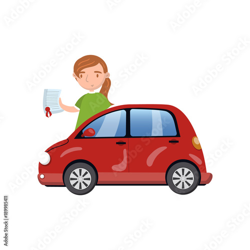 Poster Cars Woman standing behind of red car and showing paper document, car insurance concept cartoon vector Illustration