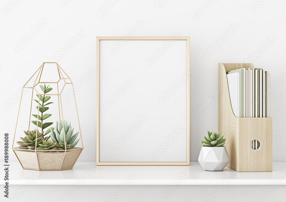 Fototapeta Home interior poster mock up with horizontal gold metal frame and succulents on white wall background. 3D rendering.