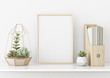canvas print picture Home interior poster mock up with horizontal gold metal frame and succulents on white wall background. 3D rendering.