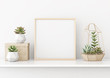 canvas print picture - Home interior poster mock up with horizontal gold metal frame and succulents on white wall background. 3D rendering.