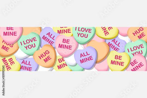 Obraz Valentines Day Candy Hearts Wide Banner Illustration 1 - fototapety do salonu