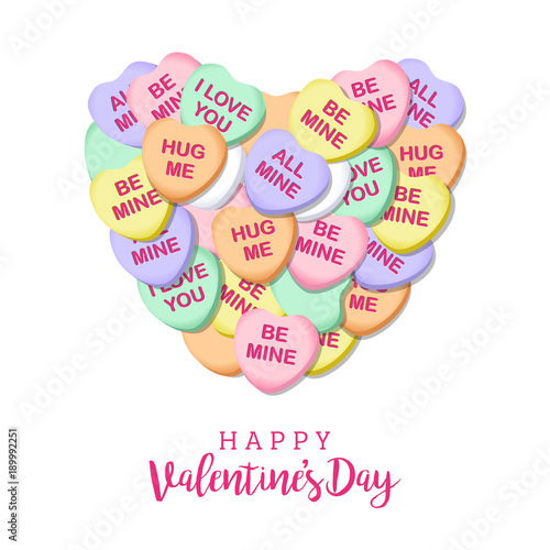 Happy Valentines Day Candy Hearts Square Vector Illustration 1 Buy