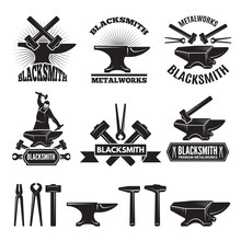 Industrial Logo Set. Labels For Blacksmith. Vector Design Template With Place For Your Text
