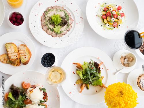 Fotobehang Restaurant Balanced fancy restaurant dinner menu. Wholesome eating. Fitness lifestyle concept
