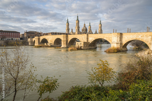 Panoramic view of the Zaragoza. Cathedral-Basilica of Our Lady of the Pillar and the Ebro River. Spain.