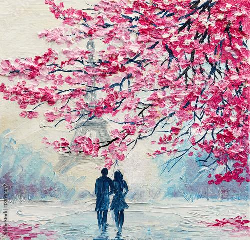Fotografía oil painting on canvas, couple of lovers under an umbrella, Paris, Eiffel Tower,