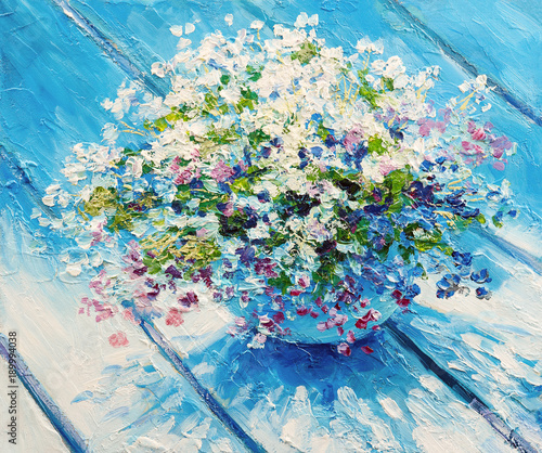Oil painting on canvas, still life flowers, impressionism artwork