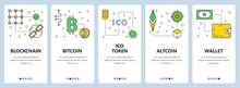 Vector Modern Thin Line Blockchain Concept Web Banners