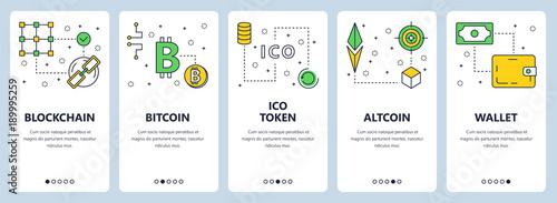 Fotografía  Vector modern thin line blockchain concept web banners