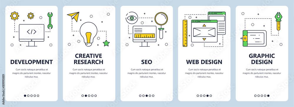 Fototapeta Vector modern thin line web development concept banners