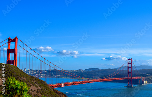 Plakat Widok Golden Gate Bridge w San Fransisco, Marin Headlands, San Fransisco w tle, usa, Kalifornia