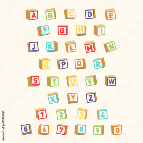 Alphabet with numbers, childish font Wallpaper Mural