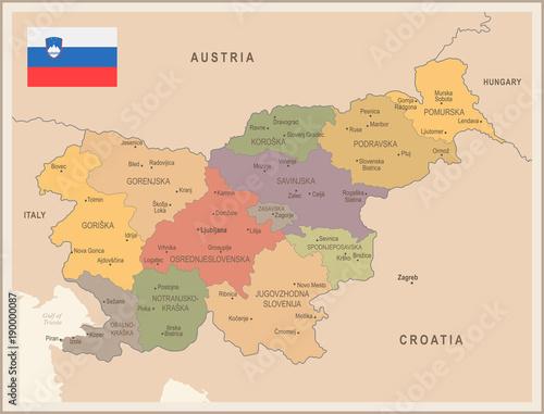 Slovenia - vintage map and flag - Detailed Vector Illustration Wallpaper Mural